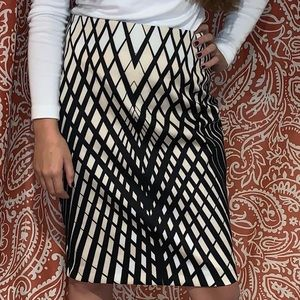 Black and white stripped pencil skirt
